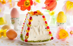Wallpaper eggs, Easter, tulips, cake, candied, cheese