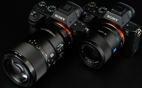 Wallpaper macro, pair, lens, Sony, cameras
