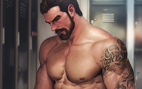 Picture body, art, male, beard, muscle, locker room
