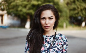 Picture look, trees, background, street, portrait, makeup, dress, piercing, brunette, hairstyle, beauty, bokeh