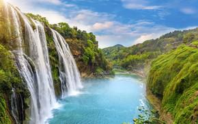 Wallpaper landscape, river, rocks, waterfall, summer, river, landscape, beautiful, waterfall, tropical