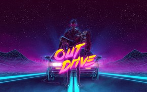 Wallpaper Synthpop, Synth, Retrowave, DeLorean DMC-12, Electronic, Darkwave, The game, Stars, Machine, Synth pop, Synthwave, Neon, ...