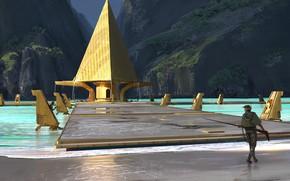 Picture mountains, construction, Laguna, guard, Ancient Civilization
