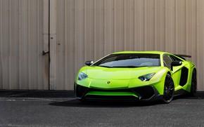 Picture green, Lamborghini, Aventador, Super, veloce
