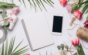 Picture gift, Flowers, Notepad, phone