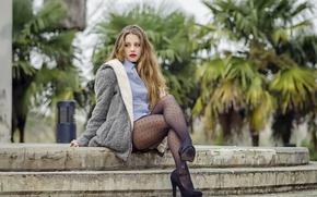 Picture model, tights, shirt, legs, coat, Alejandra Delgado