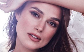 Picture close-up, face, portrait, makeup, actress, brunette, hairstyle, Keira Knightley, Keira Knightley, Harper's Bazaar, Alexi Lubomirski