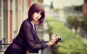 Picture city, girl, photo, photographer, blue eyes, camera, short hair, model, lips, face, brunette, urban, shirt, …