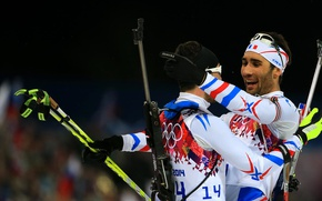 Wallpaper Jean-Guillaume Beatrix, biathlon, Martin Fourcade, rifle