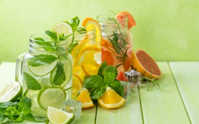 Picture orange, lime, drinks, mint, lemonade, ice cubes