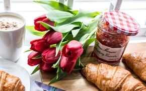 Picture tulips, jam, croissants