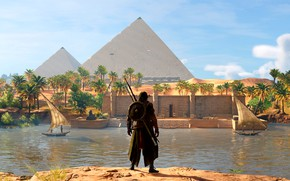 Picture river, pyramid, Egypt, Assassin's Creed Origins