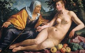 Picture oil, picture, mythology, The vertumnus and Pomona, Hendrik Goltzius