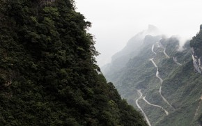 Picture road, forest, clouds, trees, mountains, fog, China, serpentine, China, Hunan province