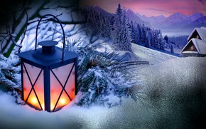 Picture holiday, new year, flashlight, winter Christmas