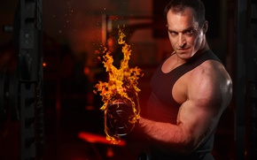 Picture Look, Fire, Dumbbells, Male, Fitness, Bodybuilding, Muscle