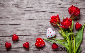 Wallpaper valentine`s day, love, sweet, tulips, romantic, tulips, hearts, red