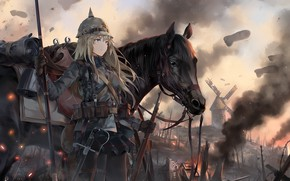 Wallpaper art, girl, anime, horse