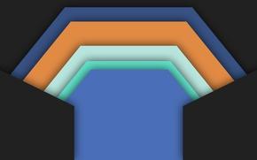 Wallpaper orange, blue, geometry, black background, material, color, white, design