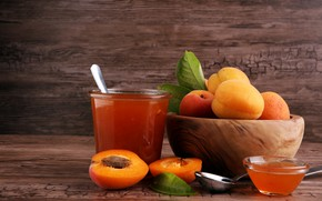 Picture leaves, apricot jam, spoon, background, apricot