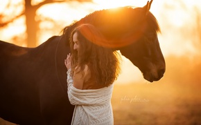 Picture girl, light, horse
