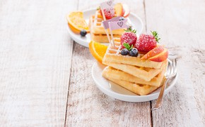 Picture orange, food, blueberries, strawberry, peach, waffles, powdered sugar, Valeria Maksakova