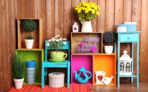 Picture flowers, the inscription, concept, box, decor, decor