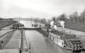 Picture landscape, bridge, retro, ship, steamer, channel, USA, 1903-the year
