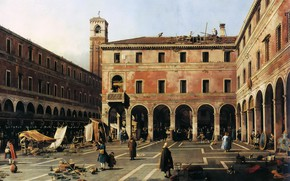 Wallpaper The area in Rialto, picture, Giovanni Antonio Canal, the urban landscape, Canaletto, Campo di Rialto