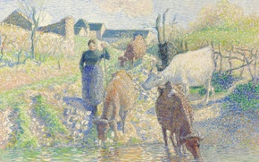 Picture picture, genre, pointillism, Camille Pissarro, Cows at the Watering. They
