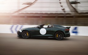 Picture asphalt, movement, speed, track, Jaguar, blur, the fence, tribune, dark green, V8, 575 HP, 5.0 …