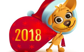 Picture figure, dog, New year, 2018