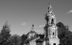 Picture the darkness, The sky, Church, Village, black and white, the dome, Gloom, Abandoned