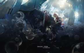 Picture balloons, piano, sitting, touhou, rays of light, art, blue dress, Alice Margatroid, Touhou Project, Hourai