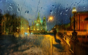 Picture glass, drops, the city, rain, St. Petersburg
