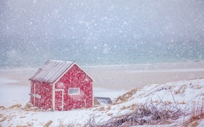 Picture winter, sea, snow, coast, Norway, house, Norway, Nordland, The Lofoten Islands, The Norwegian sea, Lofoten, ...