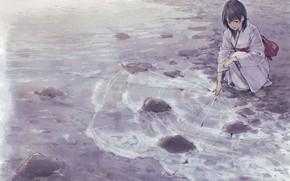 Picture ice, sea, girl, kimono