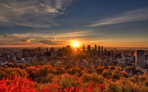 Picture autumn, the sky, the sun, trees, river, dawn, home, Canada, Montreal, megapolis, Montreal