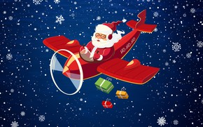 Picture Minimalism, The plane, Snow, Christmas, Costume, Snowflakes, Background, New year, Santa, Holiday, Santa Claus, The …