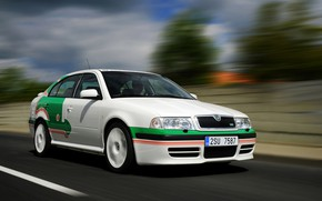 Picture road, the sky, asphalt, clouds, markup, vegetation, blur, Skoda, Skoda, Octavia, the first generation