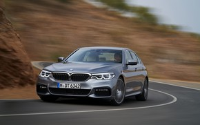 Picture road, asphalt, grey, movement, markup, turn, BMW, sedan, 540i, 5, M Sport, four-door, 2017, 5-series, …