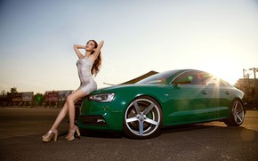 Picture look, Audi, Girls, hairstyle, Asian, beautiful girl, green car, sitting on the hood