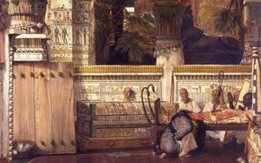 Picture interior, picture, genre, Lawrence Alma-Tadema, Lawrence Alma-Tadema, The Egyptian Widow