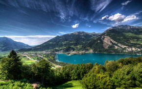 Picture greens, the sky, the sun, clouds, trees, mountains, lake, road, home, Switzerland, valley, Lake Walensee