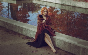 Picture model, autumn, legs, face, brown hair, girl, cool