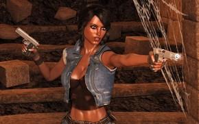 Picture girl, gun, mulatto
