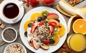 Wallpaper muesli, coffee, Breakfast, fruit, cereal, nuts, berries