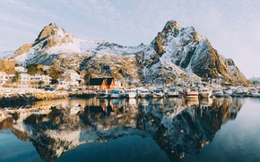 Picture mountains, Marina, home, boats, Norway, the village, the fjord