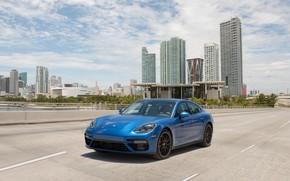 Picture road, auto, blue, the city, speed, Porsche, Panamera, turbo, Porsche, blue