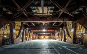 Wallpaper Wells Street, bridge, support, Chicago USA